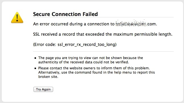 Как исправить SSL_ERROR_RX_RECORD_TOO_LONG в Mozilla Firefox?