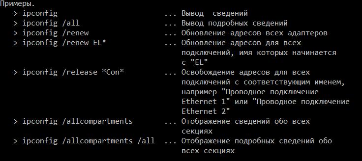 ipconfig /? примеры