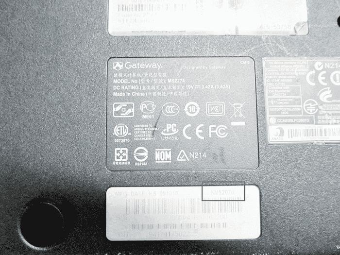 Узнаем название модели на ноутбуке Gateway