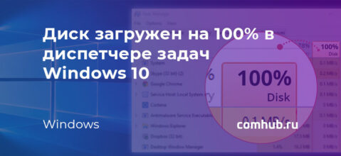 Диск загружен на 100% процентов в диспетчере задач Windows 10